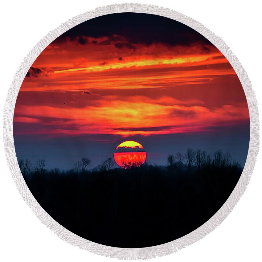 Sunset Round Beach Towel featuring the photograph Shelby's Sunset by Scott Bryan