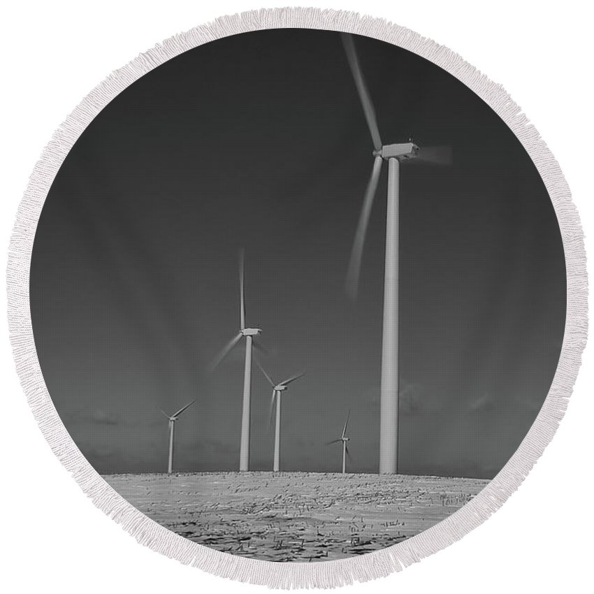 Wind Round Beach Towel featuring the photograph Sheldon Wind Farm 14955 by Guy Whiteley