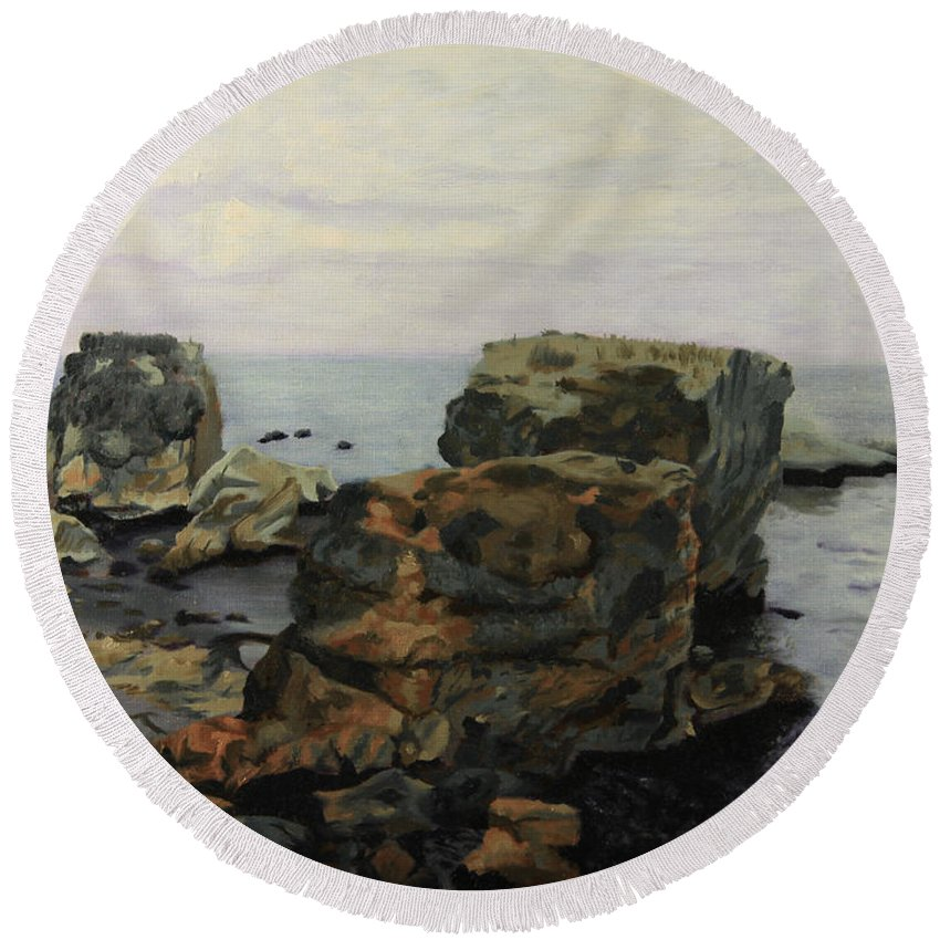 Shelley Irish Round Beach Towel featuring the painting Shell Beach by Shelley Irish