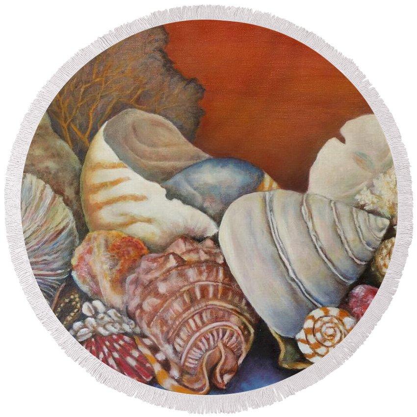 Shells Round Beach Towel featuring the painting Shells On Shelf by Jodi Higgins