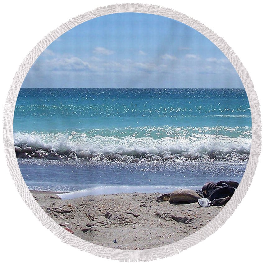 Beach Round Beach Towel featuring the photograph Shells On The Beach by Sandi OReilly