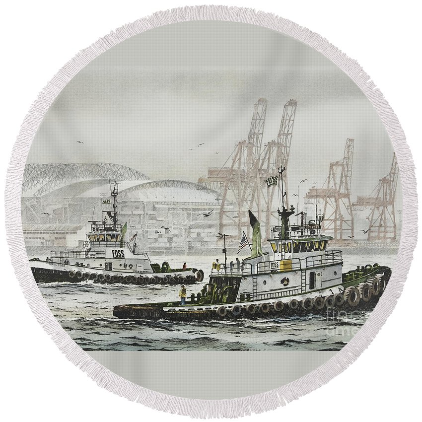 Tugs Round Beach Towel featuring the painting Shelly And Wedell Foss by James Williamson