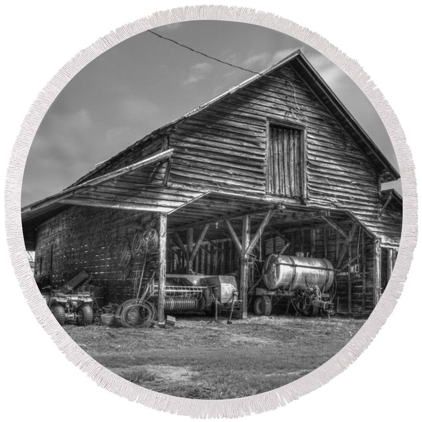 Reid Callaway Still Useful Too Round Beach Towel featuring the photograph Shelter From The Storm 2 Wrayswood Barn by Reid Callaway