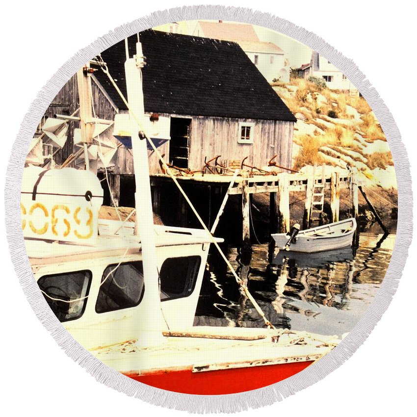 Peggys Cove Round Beach Towel featuring the photograph Sheltered Port by Ian MacDonald