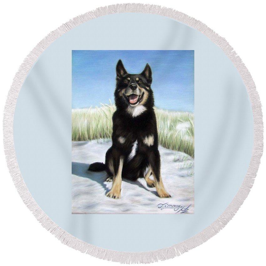 Dog Round Beach Towel featuring the pastel Shepherd Mix Timmy by Nicole Zeug