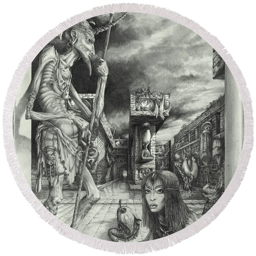 Otto Rapp Round Beach Towel featuring the drawing Shepherd of the Sphinx by Otto Rapp
