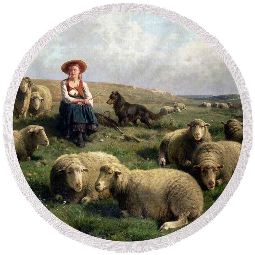 Shepherdess With Sheep In A Landscape By C. Leemputten (1841-1902) And Gerard Round Beach Towel featuring the painting Shepherdess With Sheep In A Landscape by C Leemputten and T Gerard