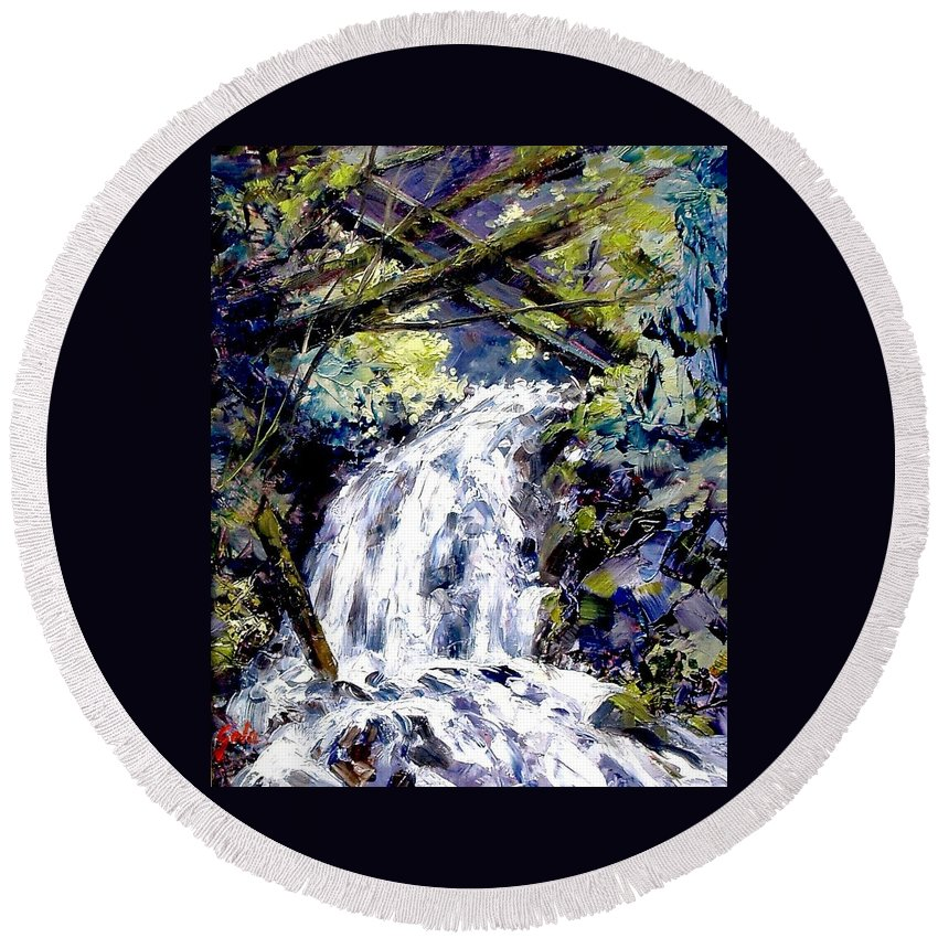 Landscape Round Beach Towel featuring the painting Shepherds Dell Falls Coumbia Gorge Or by Jim Gola