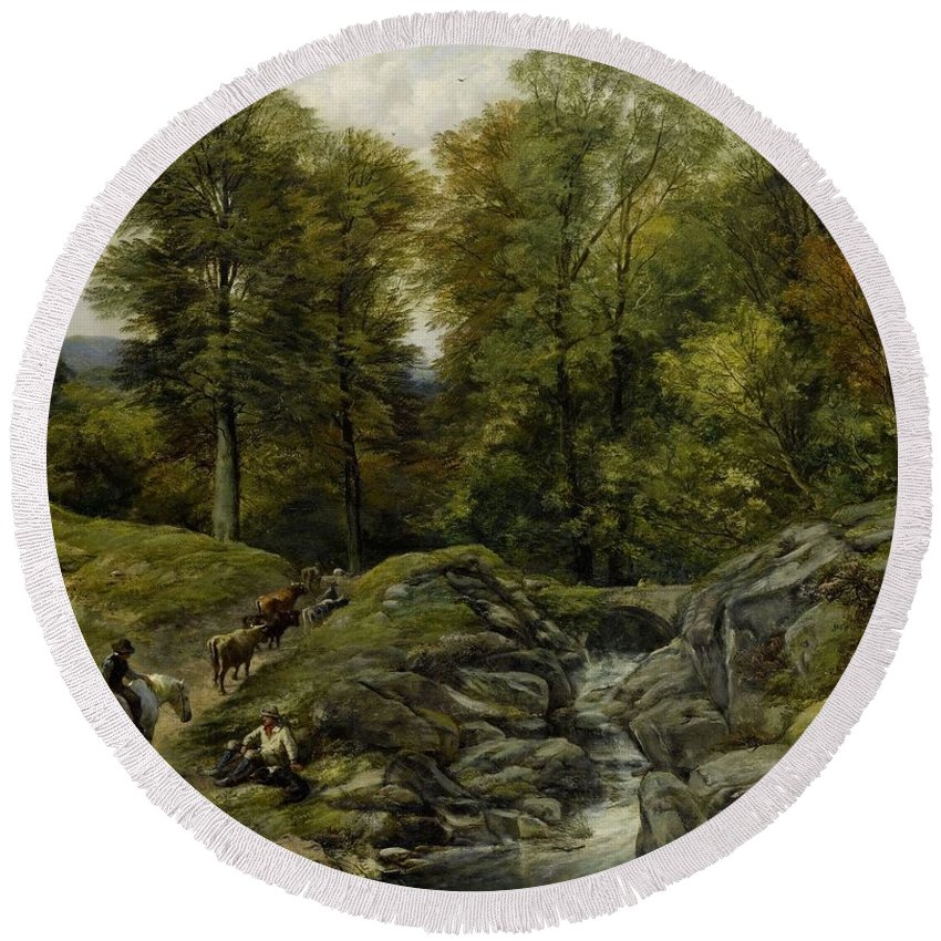 Nature Round Beach Towel featuring the painting Shepherds Next To A Brook By Thomas Creswick by Thomas Creswick