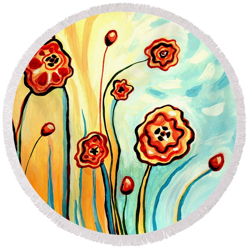 Floral Round Beach Towel featuring the painting Sherbert And Powder Blue Skies by Elizabeth Robinette Tyndall