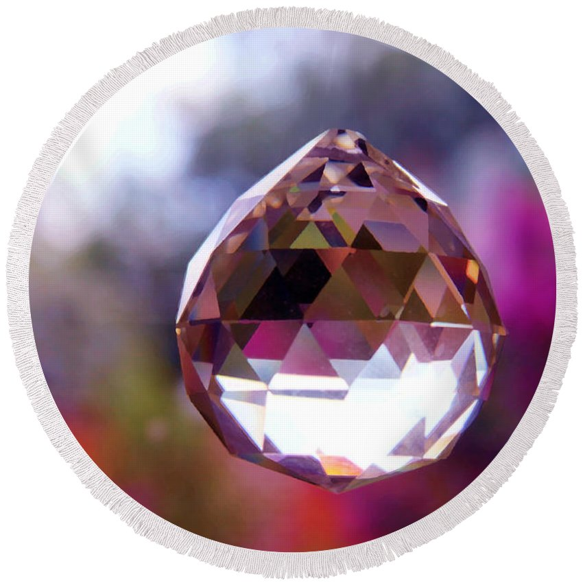 Crystal Round Beach Towel featuring the photograph Sherbet Crystal Teardrop by Susan Vineyard