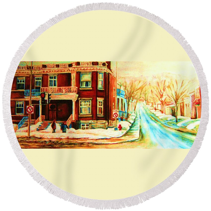 Montreal Round Beach Towel featuring the painting Sherbrooke In Winter by Carole Spandau