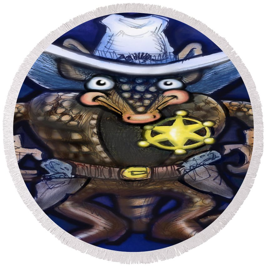 Sheriff Round Beach Towel featuring the digital art Sheriff Dillo by Kevin Middleton