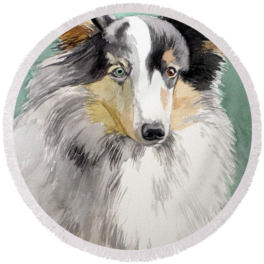 Dog Round Beach Towel featuring the painting Shetland Sheep Dog by Christopher Shellhammer