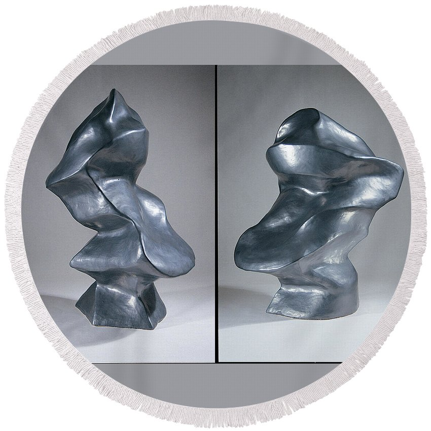 Shift Round Beach Towel featuring the sculpture Shift Two Views by Jason Messinger