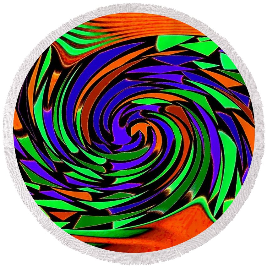 Sahara Round Beach Towel featuring the digital art Shifting Sands by Will Borden