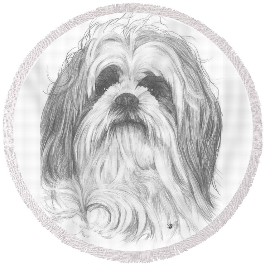 Designer Dog Round Beach Towel featuring the drawing Shih-poo by Barbara Keith