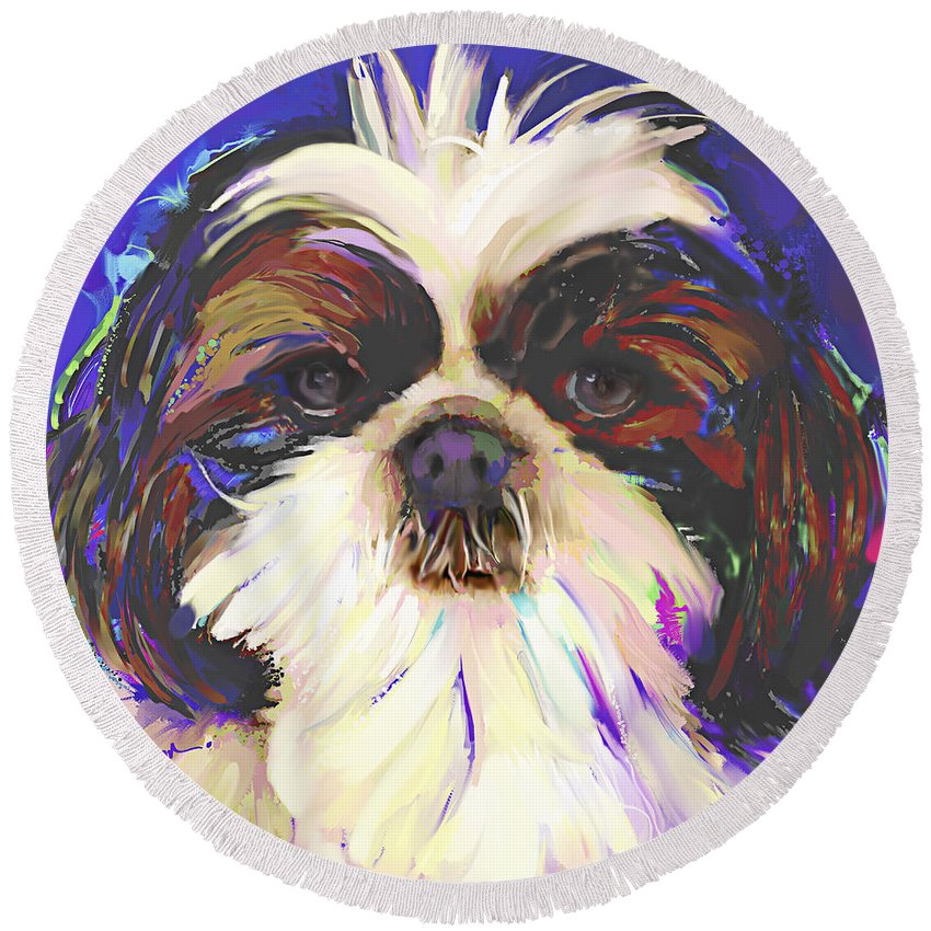 Shih Tzu Round Beach Towel featuring the painting Shih Tzu 4 by Jackie Jacobson