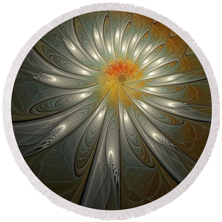 Digital Art Round Beach Towel featuring the digital art Shimmer by Amanda Moore