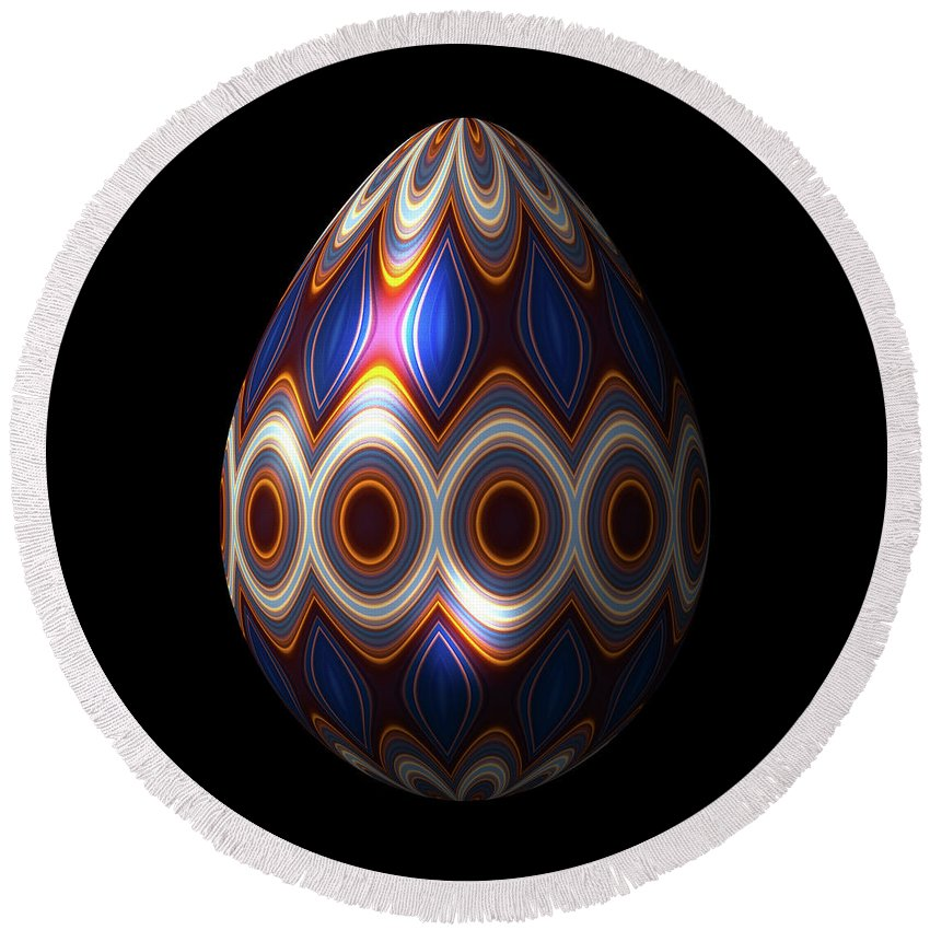 Series Round Beach Towel featuring the digital art Shimmering Christmas Ornament Egg by Hakon Soreide