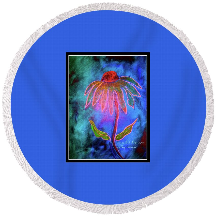 Floral Round Beach Towel featuring the painting Shimmering Floral by Kathy Othon
