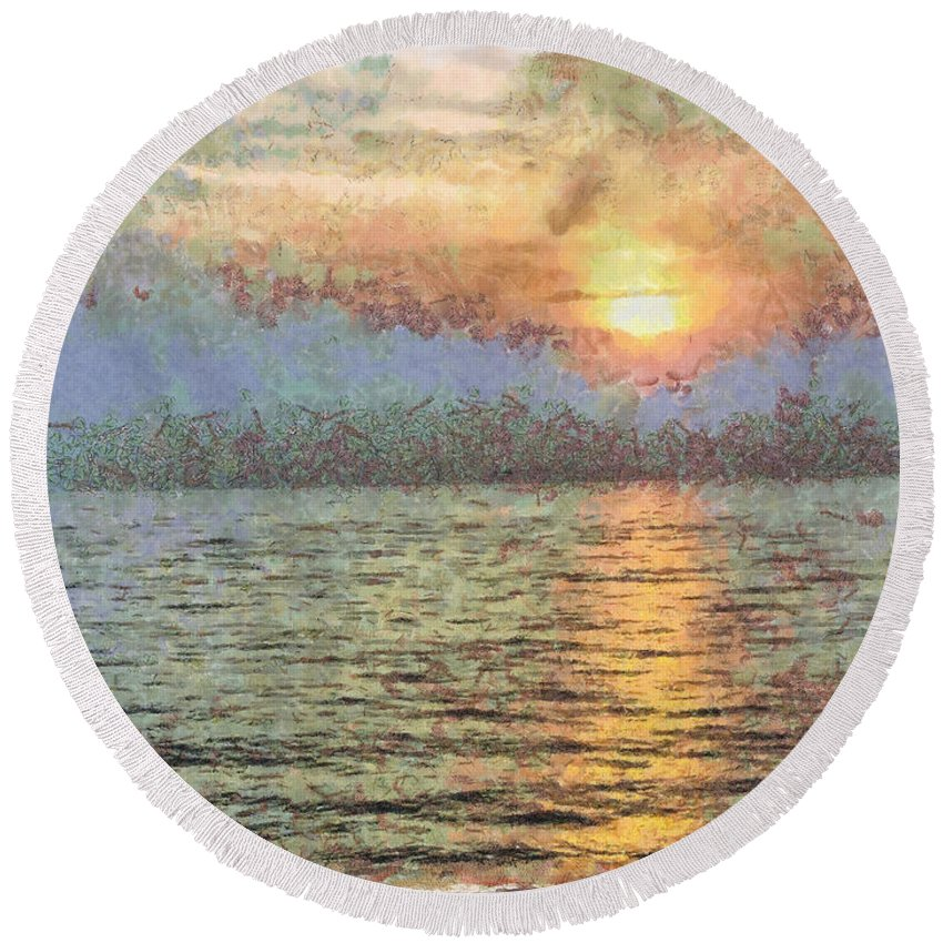 Sunset Round Beach Towel featuring the photograph Shimmering Light Over The Water by Ashish Agarwal