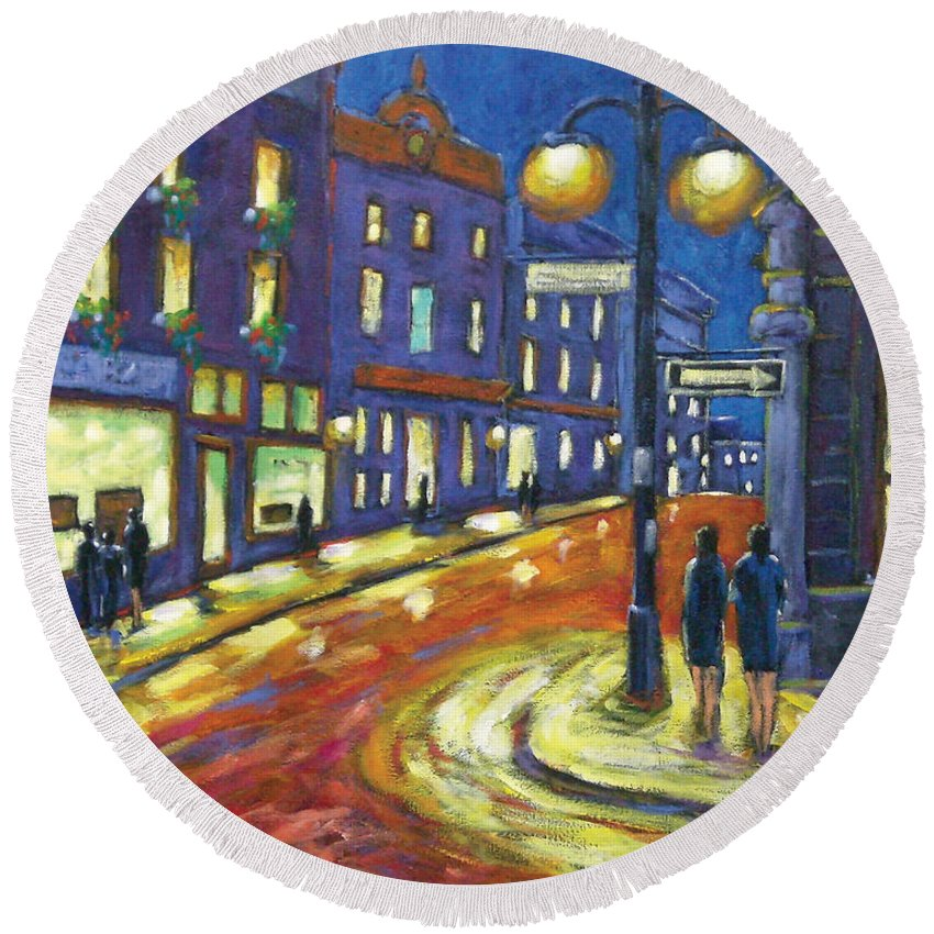 Night Round Beach Towel featuring the painting Shimmering Night by Richard T Pranke