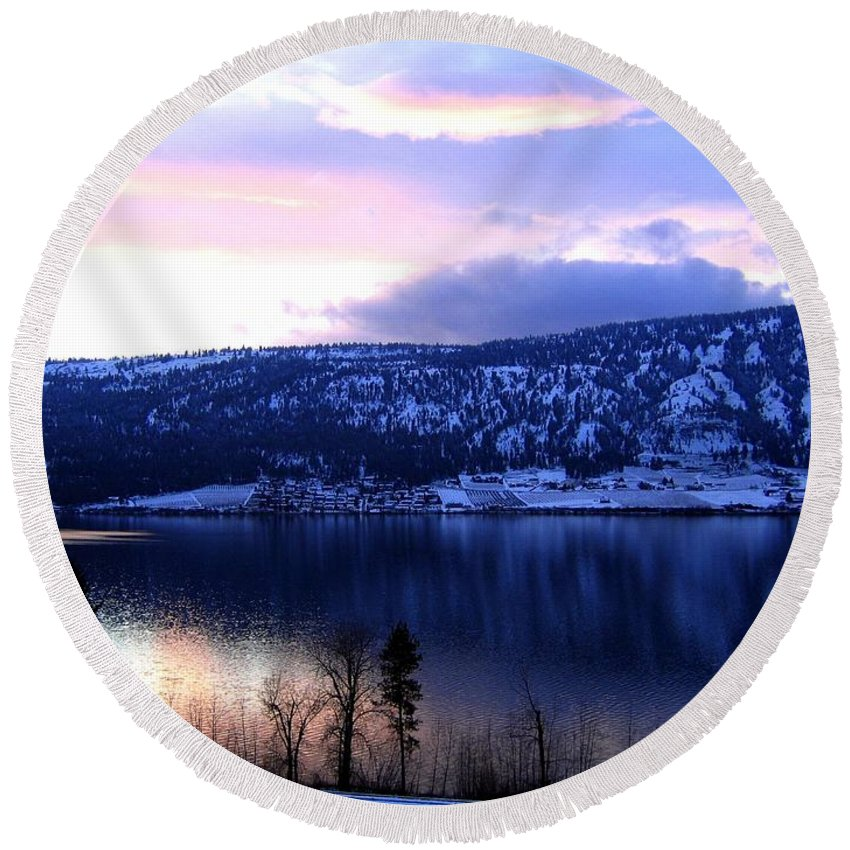Sunset Round Beach Towel featuring the photograph Shimmering Wood Lake by Will Borden
