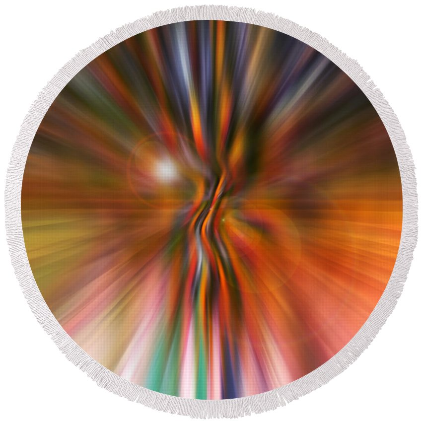 Abstract Art Round Beach Towel featuring the digital art Shine On by Linda Sannuti