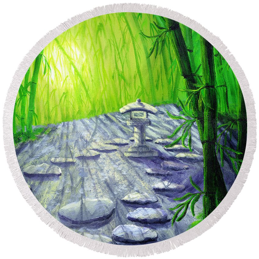 Zen Round Beach Towel featuring the painting Shinto Lantern In Bamboo Forest by Laura Iverson