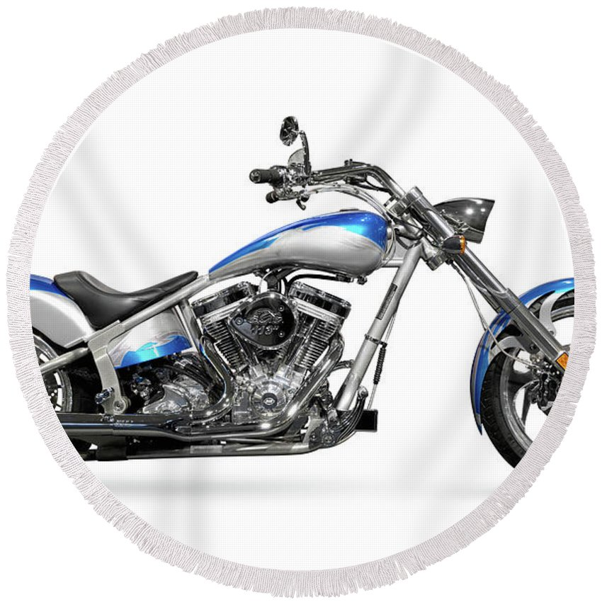 Chopper Round Beach Towel featuring the photograph Shiny Chopper by Maxim Images Prints