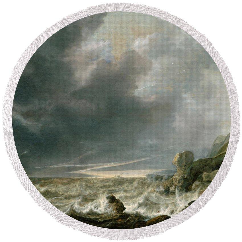 Simon De Vlieger Round Beach Towel featuring the painting Ship In Distress Off A Rocky Coast by Simon de Vlieger