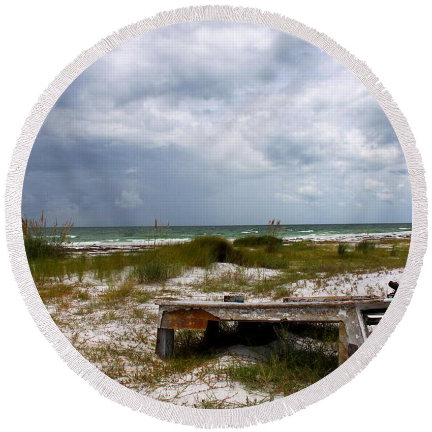 Shipwreck Round Beach Towel featuring the photograph Ship Wrecked And Buried by Barbara Bowen