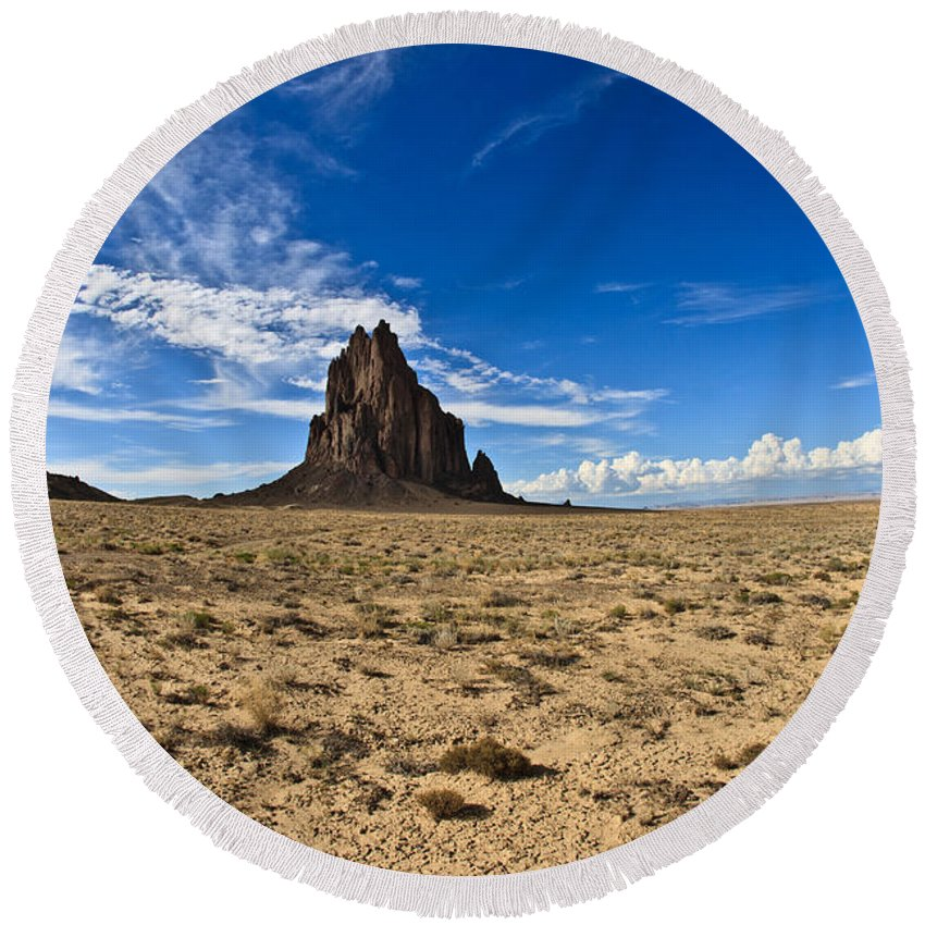 Shiprock Round Beach Towel featuring the photograph Shiprock #6 by Robert J Caputo