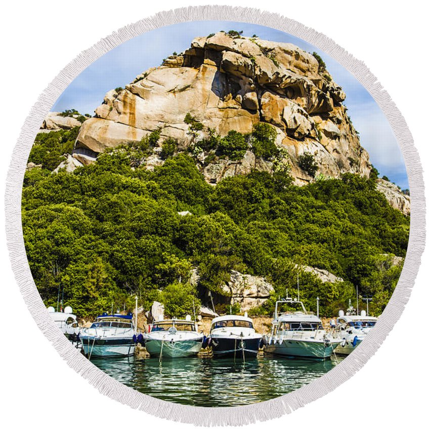 Sardinia Round Beach Towel featuring the photograph Ships Collection To Italian Harbor by Giuseppe R F Seccia