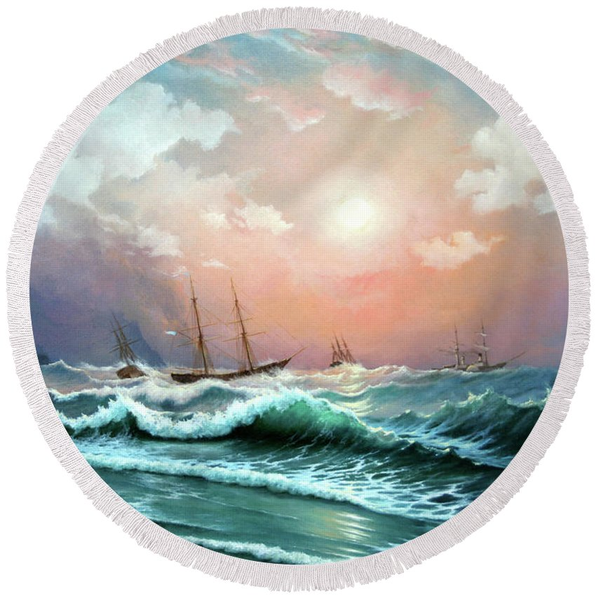 Seascape Round Beach Towel featuring the painting Ships In A Storm At Sunset by Zohrab Kemkemian