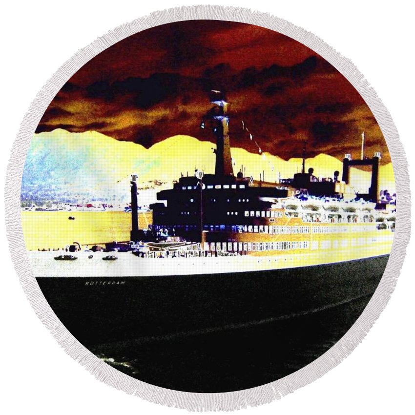S S Rotterdam Round Beach Towel featuring the digital art Shipshape 3 by Will Borden