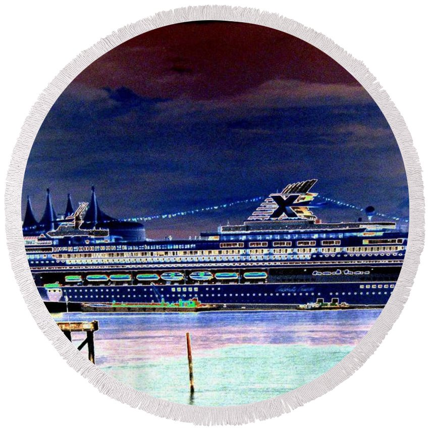 Mercury Round Beach Towel featuring the digital art Shipshape 5 by Will Borden