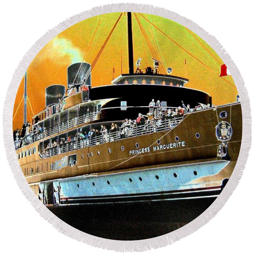 Princess Marguerite Round Beach Towel featuring the digital art Shipshape 6 by Will Borden