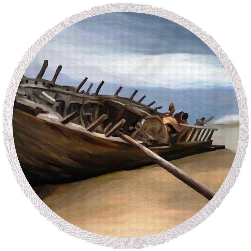Ship Round Beach Towel featuring the painting Shipwreck by Tafadzwa Ziona