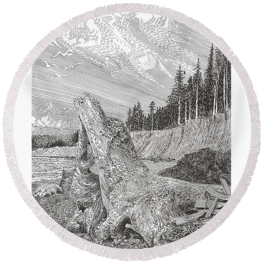 Nautical Marine Driftwood Round Beach Towel featuring the drawing Shipwrecked by Jack Pumphrey