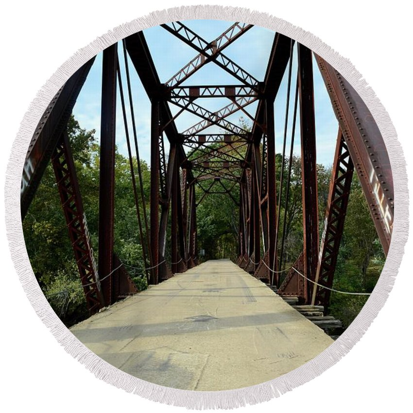 Bridge Round Beach Towel featuring the photograph Shirley Railroad Bridge 1 by Tamra Lockard
