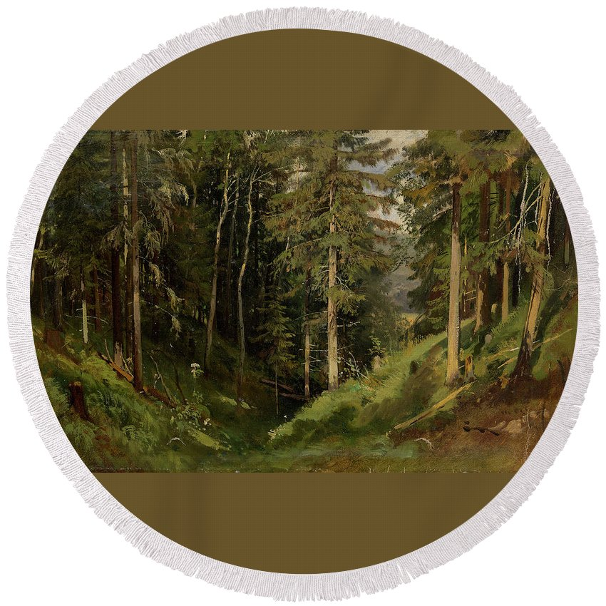 Nature Round Beach Towel featuring the painting Shishkin, Ivan 1832-1898 Forest Clearing by Shishkin Ivan
