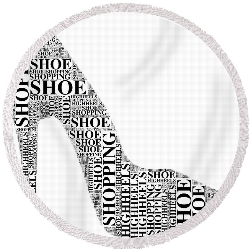 Shoe Round Beach Towel featuring the digital art Shoe Shopping by Alice Gipson