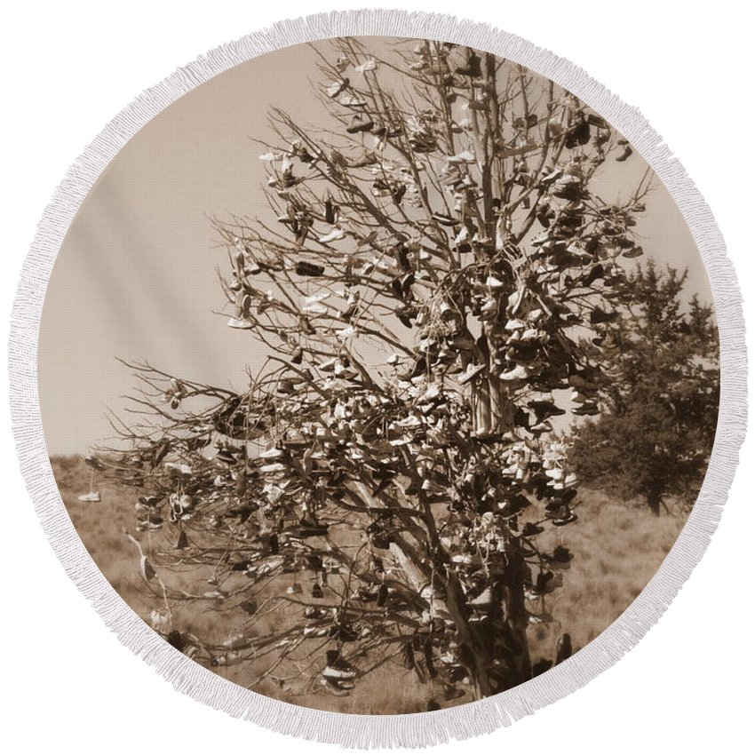 Sepia Round Beach Towel featuring the photograph Shoe Tree In Sepia by Carol Groenen
