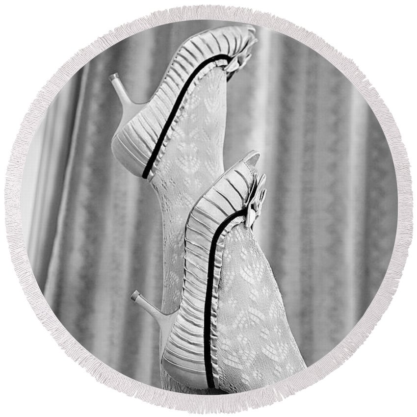 Accessory Round Beach Towel featuring the photograph Shoes #6088 by Andrey Godyaykin
