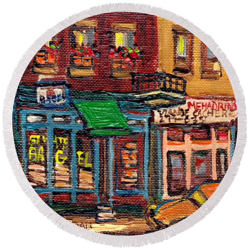 St.viateur Bagel Shop Round Beach Towel featuring the painting St Viateur Bagel Shop And Mehadrins Kosher Deli Best Original Montreal Jewish Landmark Painting by Carole Spandau
