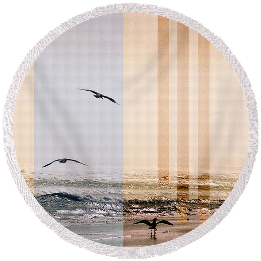 Abstract Round Beach Towel featuring the photograph Shore Collage by Steve Karol