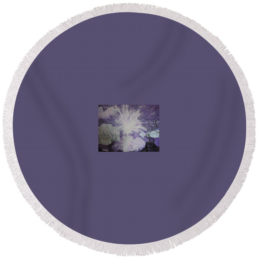Squiggleism Round Beach Towel featuring the painting Shore Dance by Stefan Duncan