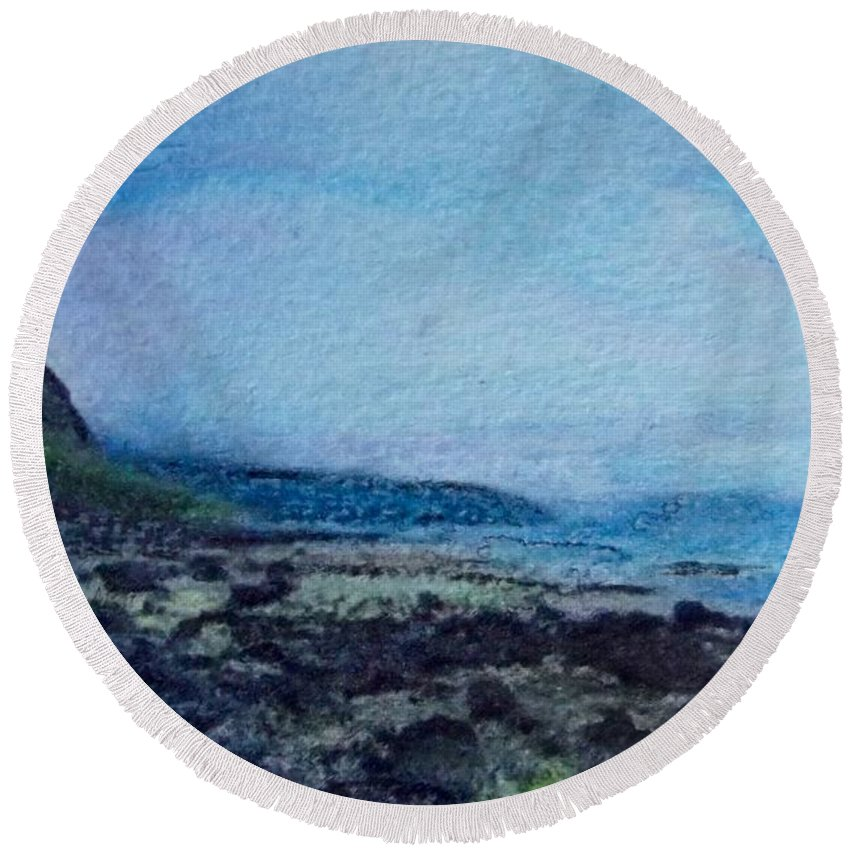 Sky Round Beach Towel featuring the painting Shore Of Loneliness by Cara Frafjord